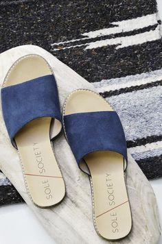 Navy suede slip-on banded sandal with an extra comfortable cork foot bed and treaded outsole. So casual and cool. #ad
