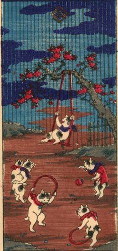 #Japanese Bob Tail Cat yajifun貼交帳 (浮世絵:芳藤 Yoshifuji 『志ん板冬物いせう...)