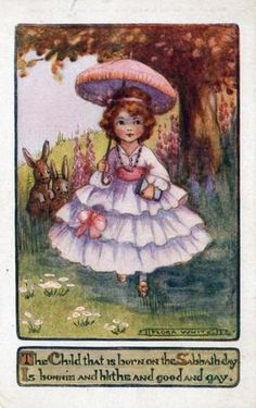 Flora White postcard - The child that is born on the Sabbath day