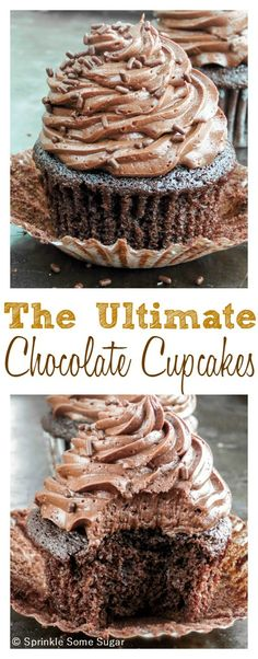 The Ultimate Chocolate Cupcakes. Extremely moist cupcakes topped with the best and creamiest, fudgy buttercream frosting! You'll never need another chocolate cupcake OR chocolate buttercream recipe again!