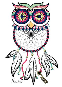 ☮ American Hippie ☮ Owl Dreamcatcher