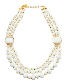 Triple-Strand White Beaded Necklace by Jose & Maria Barrera at Neiman Marcus.