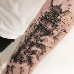 Lighthouse sketch style tattoo by Victor Montaghini. The lines are irregular and there is a general messiness to these sketch style tattoos that make them the epitome of originality and creativity. Enjoy!