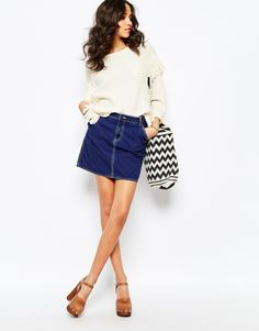 Mih Jeans Eques A Line Denim Skirt In Clean Blue