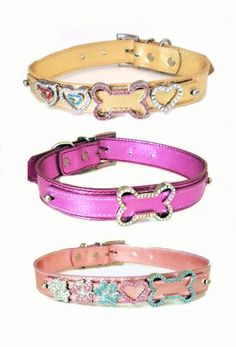Metallic-Faux-Leather-Collars-Fuchsia-Gold-Pink-PLUS-1-LG-Slide-ON-SALE