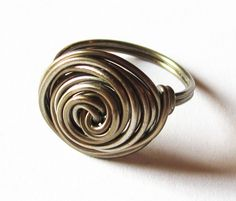 Large Ring Wire Wrapped Rosette In Gunmetal Rose by DistortedEarth, $12.00