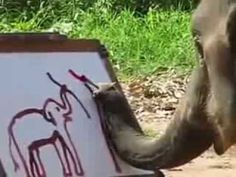 Elephant paints a self-portrait with his trunk. This is so stinking cute.