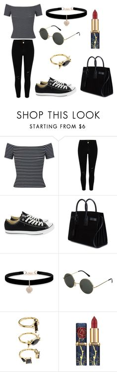"""Untitled #343"" by fashion-with-dudette on Polyvore featuring Miss Selfridge, River Island, Converse, Yves Saint Laurent, Betsey Johnson and Noir Jewelry"