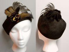 1960s Vintage Ladies Hat Fur And Feathers, Coralie
