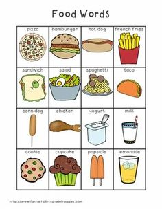 Writing Center Tools- Food Words