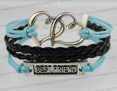 Silver double heart bracelet &jewelry Best friend by ontheway2013, $3.99