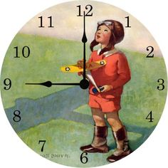 What a sweet clock for an airplane themed room!
