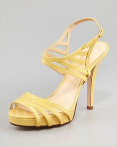 raven patent leather cage sandal, yellow by kate spade new york at Neiman Marcus.