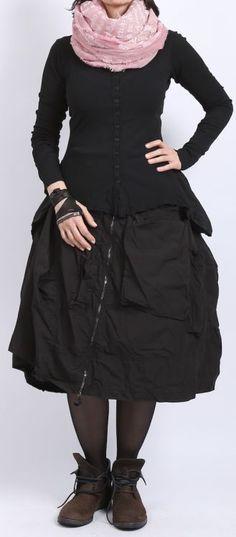 rundholz dip - Shirtbluse Cotton Jersey Mix Langarm black gum - Sommer 2016 - stilecht - mode für frauen mit format...