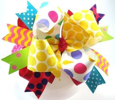 Birthday Fun Funky Hairbow by sanchezc30 on Etsy, $7.50