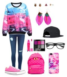 """Pink Tag"" by fries4now ❤ liked on Polyvore featuring Converse, Moschino, Casetify, Mudd and colorcoordinatedhashtag"