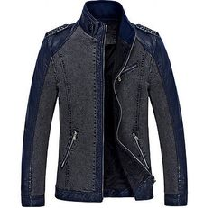 2015 New Fashion Stand Collar Denim Jacket Men Good Quality Pu Leather Patchwork Casual Jackets Mode Masculine, Mens Polo T Shirts, Mens Tees, All Black Fashion, Men's Fashion, Denim Jacket Men, Leather Jacket, Pu Leather, Moda Men