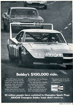1971 Champion Spark Plugs Bobby Isaac Advertising Hot Rod Magazine March 1971