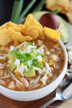 A fast, easy recipe for White Chicken Chili. Featuring chicken, corn, white beans and green chiles. Comforting and healthy!