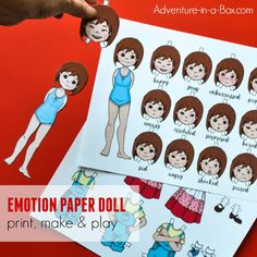 Emotion dress-up paper doll girl for teaching about body language & feelings Emotions Preschool, Emotions Activities, Activities For Kids, Printable Board Games, Printable Crafts, Free Printables, Boy Printable, Emotions Wheel, Emotions Game