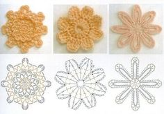 Yellow Crochet Flowers. .❀⊱╮CQ #crochet #spring #crochetflowers #flowers  http://www.pinterest.com/CoronaQueen/crochet-leaves-and-flowers-corona/