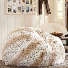 048a4de3c228 Snow Leopard Faux Fur Beanbag Two of these in large. They are very popular  with my girls and our puppy.
