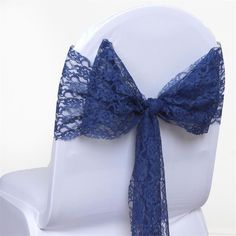 JOLLY GOOD Lace Chair Sashes - Navy Blue | eFavorMart /  Chair sashes play a very important role in heightening the elegance and sophistication of any event's décor. They add color, dimension, and texture to ordinary banquet chairs, which is where your guests will spend a considerable part of the evening. Our classical lace chair sashes bring that vintage touch to your party settings that many couples seek to achieve, with a homey feel and relaxed mood, your guests will surely have the best…