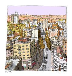 Sketch of Jerusalem by Daphnavi (Avi A. Katz).