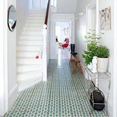Hallway with Moroccan tiles (Coach House Home). I've always loved Moroccan tiles! Style At Home, Home Deco, Hallway Inspiration, Hallway Ideas, Design Case, Interior Exterior, Modern Interior, Home Fashion, My Dream Home