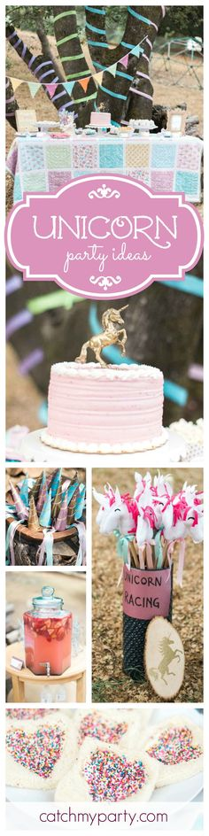 You'll love this beautiful Whimsical Unicorn Birthday. The pink cake with the unicorn on top is just so pretty! See more party ideas at CatchMyParty.com