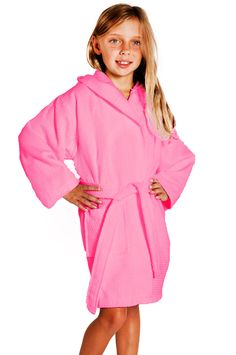 Kids Bathrobes :: Kids Hooded Waffle Fuchsia 100% Cotton Bathrobe - Wholesale bathrobes, Kids robes, Cotton robes, Slippers, Linens