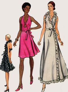 1970s Wrap Halter Evening Dress with Ruffles Vogue 8355 Vintage 70s American Hustle Style Sewing Pattern Size 14 Bust 36 by sandritocat on Etsy