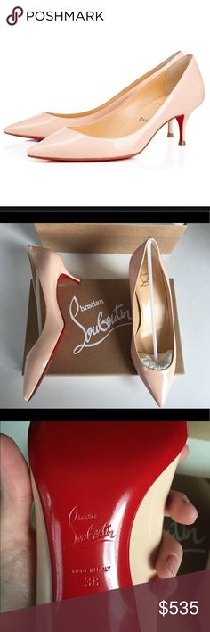 """Christian Louboutin Pigalle Follies 55mm sz 38 These are so classic! 55mm heel, color is called """"poudre"""" - they're a light/nude pink. New with box, dustbag, extra heel taps. Please ask questions or request additional photos if you'd like, I want you to be happy with your purchase! ❌Model❌Trade❌✅Offers✅ Christian Louboutin Shoes"""