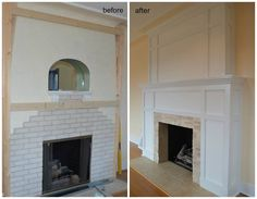 New white fireplace surround with a little Craftsman influence.