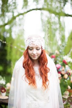 Red haired bride wearing Claire Pettibone and a juliet cap veil (styled shoot).  From: A Secret and Magical Autumn Wedding in the Woods | Love My Dress® UK Wedding Blog  Photography by http://www.lightandlacephotography.co.uk/