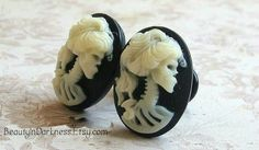 Zombie Cameo Plugs for Gauged Ears, sizes 1/2 Inch, 00g, 0g, 2g, 4g, 6g, regular earrings, 10mm, 8mm, 6mm, 5mm, 4mm