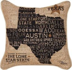 """Americana Collection """"Texas Pride"""" Throw Pillow with Piping, 17 by 17-Inch, USA Texas from Pela Studios by MWW $29.99"""