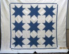Gorgeous Antique Vintage 1800's Blue White Sawtooth Star Quilt Awesome QLTG | eBay