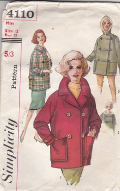 1960's Sewing Pattern - Simplicity 4110 Coat and CarCoat with Hood Size 12 Bust 32 inch Cut and complete by jennylouvintage on Etsy