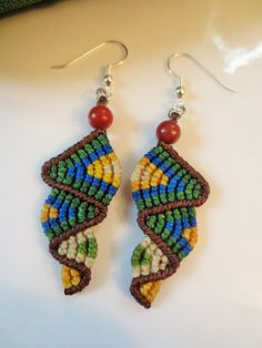 Brazil Colors Macrame Earrings with Gemstone by PapachoCreations