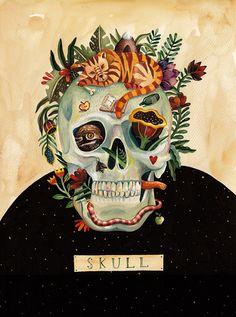 Juxtapoz Magazine Aitch's Beautiful Us Illustration Series Art And Illustration, Illustrations, Arte Com Grey's Anatomy, Anatomy Art, Human Anatomy, Skull Anatomy, Skull And Bones, Skull Art, Skull Head