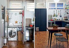 Cozinha rustica, simples e com lavanderia embutida e escondida - Casa e Reforma
