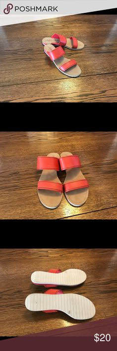 Arturo Chiang orange leather sandals. Size 9.5 Arturo Chiang orange double strap leather sandals. Size 9.5. Leather upper and manmade lining and sole. Like new condition Arturo Chiang Shoes Sandals