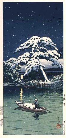 hanga gallery . . . torii gallery: Snow at Funabori by Kawase Hasui,, 1932
