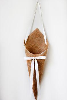 Rustic Pew Cones set of 6, Burlap Pew Cones, Burlap Church Decor, Rustic Wedding Decor, Shabby Chic Wedding, Burlap and Lace Wedding. $48.00, via Etsy.