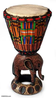 Beautiful and sonorous, this djembe #drum depicts an African elephant. It comes from Daniel Asante's skill and imagination.