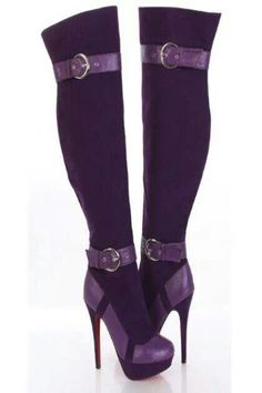 Purple & Black - Heel Boots with two Buckles