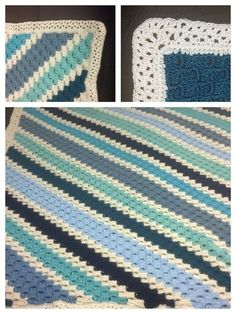 Corner to corner crochet afghan in blues