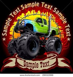 Grunge background with cartoon monster truck. Available EPS-10 vector format separated by groups and layers with transparency effects for one-click repaint
