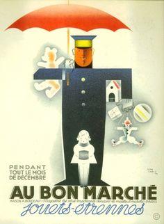 """¤ """"Au Bon Marché"""" pendant tout le mois de décembre, Jouets Etrennes Poster by Jean Carlu (1927)"""